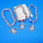 Silver Turtle & Crystal Bead Bracelet w/ Turtle Charm .54 ea