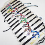 Colorful Anchor Charm on Black Macrame Bracelet .54 ea