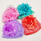 "6 Color Baby Crochet Caps w/ 4"" Flower .54 each"