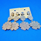 "2"" Gold & Silver 2 Part Flower Crystal Stone CLIP ON Earrings .50 ea"