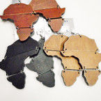 "3"" Woodtone Color Map of Africa Wood Earrings .52 each"