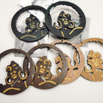 "2.5"" Woodtone Cut Out Afro Women Head Wood Earrings .52 each"