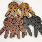 "3.25"" Woodtone Dream Catcher Theme Wood Earrings .52 each"