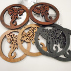 "3.25"" Woodtone Round Elephant Theme Wood Earrings .52 each"