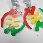 "2.5"" Rasta Color African Symbol Wood Earrings .52 each"