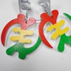 """2.5"""" Rasta Color African Symbol Wood Earrings .52 each"""
