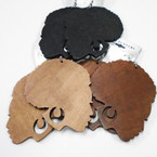 "3.5"" Large African Lady Head Wood Earrings .52 each"