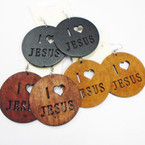 "2.5"" 3 Color Wood Earrings I Love Jesus Cut Out   .52 each"