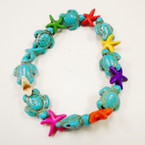 Turquoise Stone Turtle & Multi Color Starfish Stretch Bracelet   .54 each