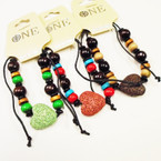 Mixed Wood Bead Cord Bracelet w/ Lava Rock Heart .54 each