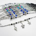 Silver w/ Crystal Bead Nautical Charm Bracelets .54 each