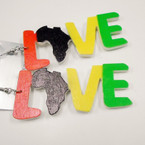 "3"" Rasta Color Love Wood Earring w/ Map .52 each"