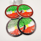 "2.75"" Rasta Color Tree of Life Wood Earrings .52 each"