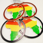 "2.75"" Rasta Color Africa Map Wood Earrings .52 each"
