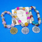 Marble & Mini Crystal Stretch Bracelets w/ Gold & Silver Tree of Life Charm .54 ea