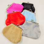"3.5"" Faux Fur Snap Closure Coin Purse 6 colors  .50 each"