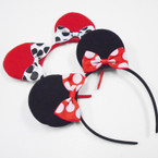 Red & Black Mouse Earring Headbands w/ Poka Dot Bow .56 each