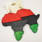 "3"" 3 Color Africa Map Wood Earrings .52 ea"