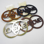 "3"" LOVE Wood Earrings 4 colors per dz .52 ea"