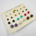Value Pack 12 Pair Earrings Crystal Studs & Pearl Ball  .52 per set