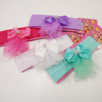 "1.5"" Stretch Headbands w/ Satin Bow & Dangle Lace .54 each"