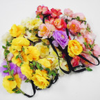 Popular Flower Fashion Headbands w/ Elastic Back Asst Colors .54 each