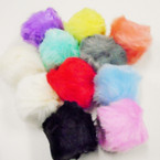 "3"" Faux Fur Pom Pom Ball Keychains Light Colors .54 each"