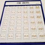 Cubic Zirconia Earrings 36 pr per display Square Gold .45 per pair