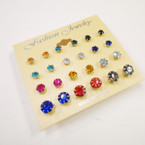 Value Pack 12 Pair Earrings Crystal Studs .50 per set