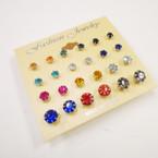 Value Pack 12 Pair Earrings Crystal Studs .50 per set