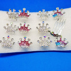"1"" X 1.5"" Silver Crystal Stone Crown Combs 12 per bx .50 each"