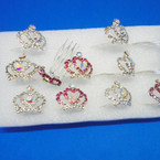 """1"""" X 1.5"""" Silver Crystal Stone Crown Combs  (A) 12 per bx .50 ea"""