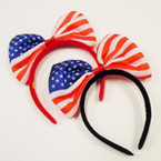 "American Flag 8"" Bow Headbands  2 colors .58 each"