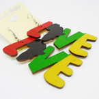 "2.75"" Rasta Color LOVE Wood Earrings w/ Africa Map .52 each"