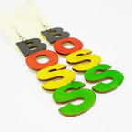 "4"" Rasta Color  Wood Earrings BOSS .52 each"