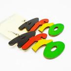 """2.50"""" Rasta Color AFRO Wood Earrings  .52 each"""