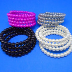 4 Strand Glass Pearl Bangle Bracelets Asst Colors .50 each