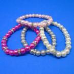 Elegant Glass Pearl Stretch Bracelets w/ Mini Crystals  .50 each