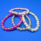 Elegant Glass Pearl Stretch Bracelets w/ Mini Crystals  .50 each
