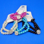 2 Pack Glass Bead Bracelet Set w/ Crystal Stone Flower .50  per set