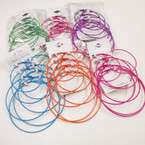 4 Pair Big Asst Size Colorful Hoop Earrings  .42 per set