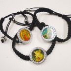 Black Macrame Bracelet w/ Religious Pictures .42 each