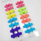 "8 Pack 1.5"" Gator Clip Neon Color Bows  .50 per set"