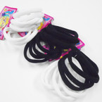 8 Pack Med. Size Soft & Stretchy Ponytailers Blk/White  .52 per pack