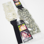 "2"" Wide Lace Headbands w/ Clear Stones 2 colors  .45 ea"