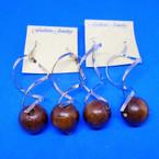 "2.5"" Gold & Silver Spiral Fashion Earrings w/ Wood Bead .50 ea"