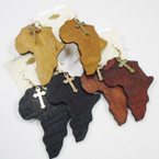 "3"" Wood Map of Africa Earrings w/ Gold Cross  .52 ea"
