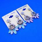 Silver Vintage Look Stone Fashion Earrings .54 ea