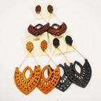 New Design Wood Earrings w/ Gold Bars .50 ea