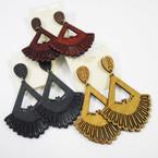 """2.5"""" Fan Design Wood Earrings 3 colors  .50 ea"""